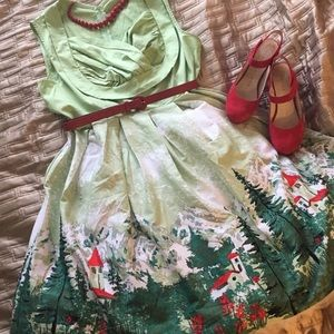 Dresses & Skirts - 🌹RETRO GREEN ALPINE PRINT PINUP SWING DRESS🌹NWOT
